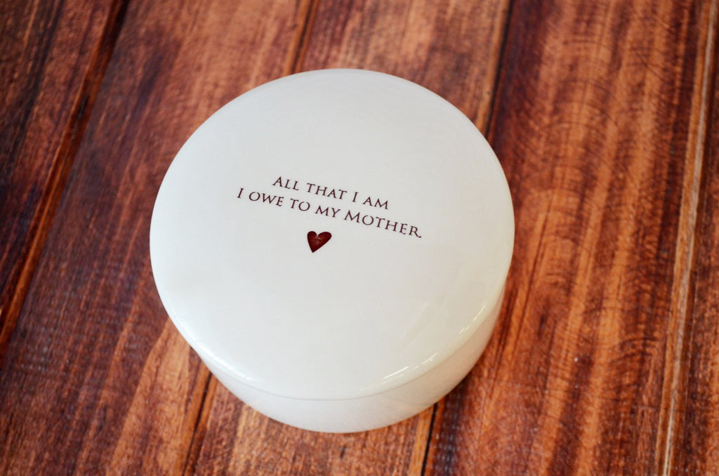 SHIPS FAST - Unique Mother of the Bride Gift or Mom Birthday Gift - Keepsake Box - All That I Am I Owe To My Mother - With Gift Box