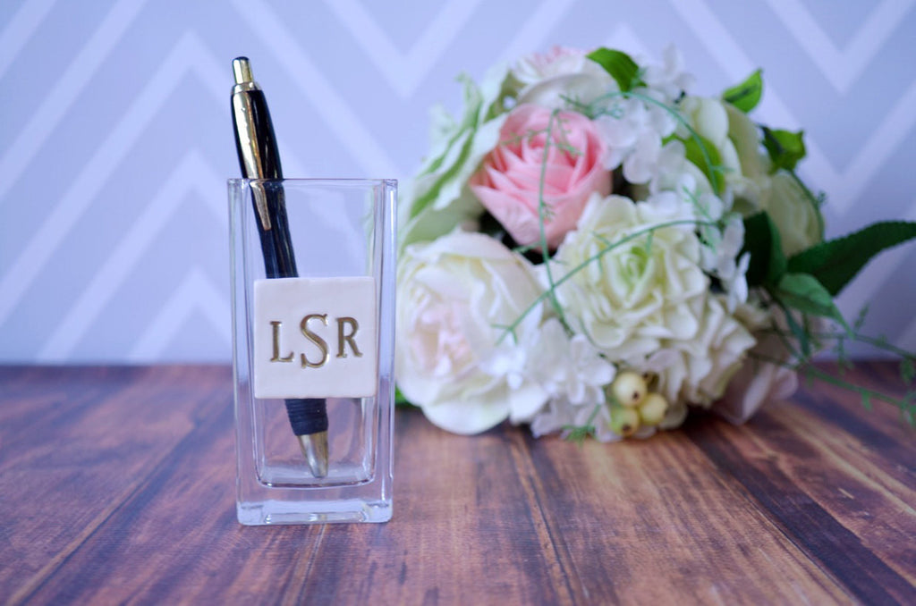 PERSONALIZED Guest Book Wedding Pen Holder - Gift packaged