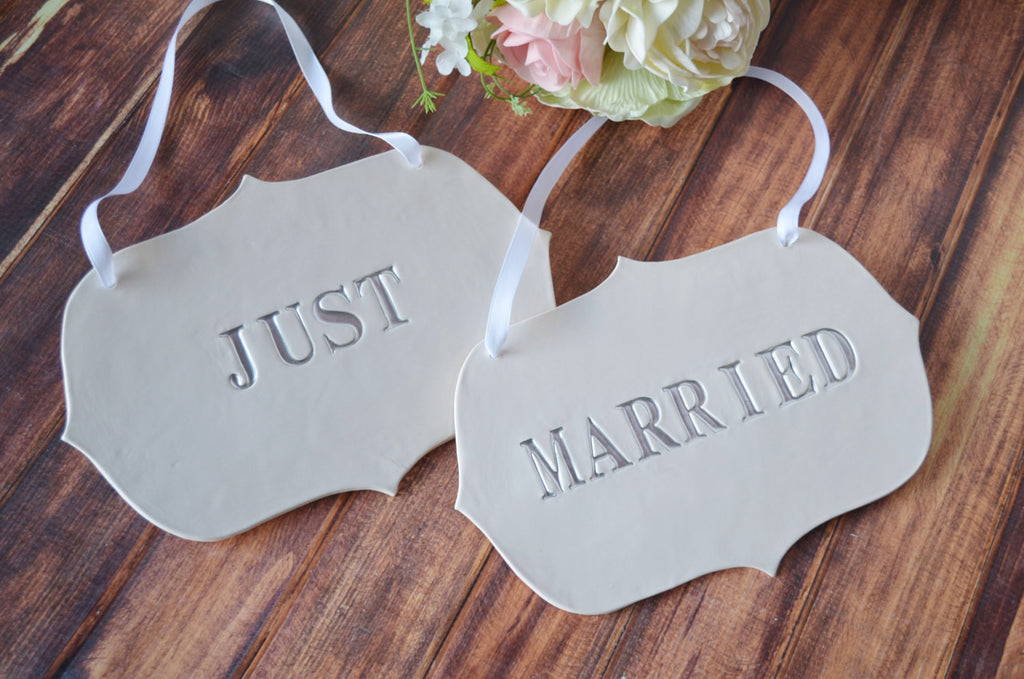 Large Silver 'Just Married' Wedding Sign Set to Hang on Chair and Use as Photo Prop