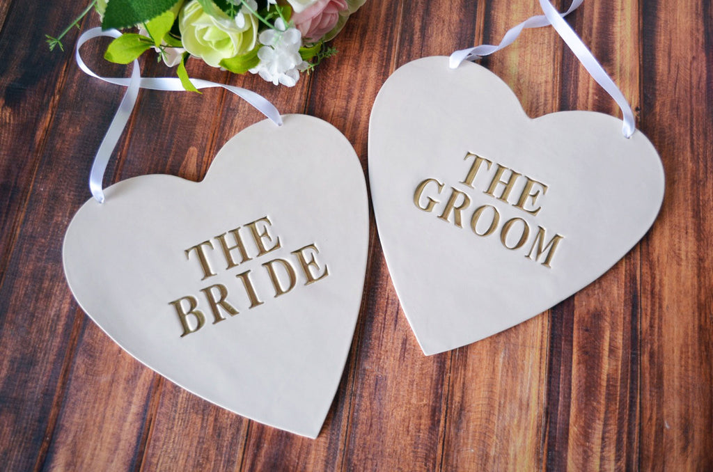 Large Heart Shaped The Bride & The Groom Wedding Sign Set to Hang on Chair and Use as Photo Prop