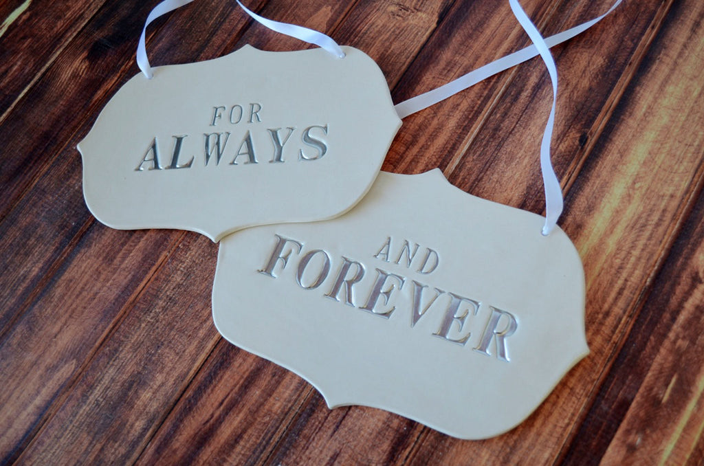 Large 'For Always And Forever' Wedding Sign Set to Hang on Chair and Use as Photo Prop - Available in silver, gold or black letters