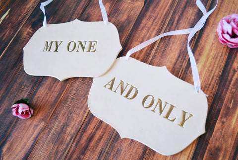 Large 'My One And Only' Wedding Sign Set to Hang on Chair and Use as Photo Prop - Available in silver, gold or black letters