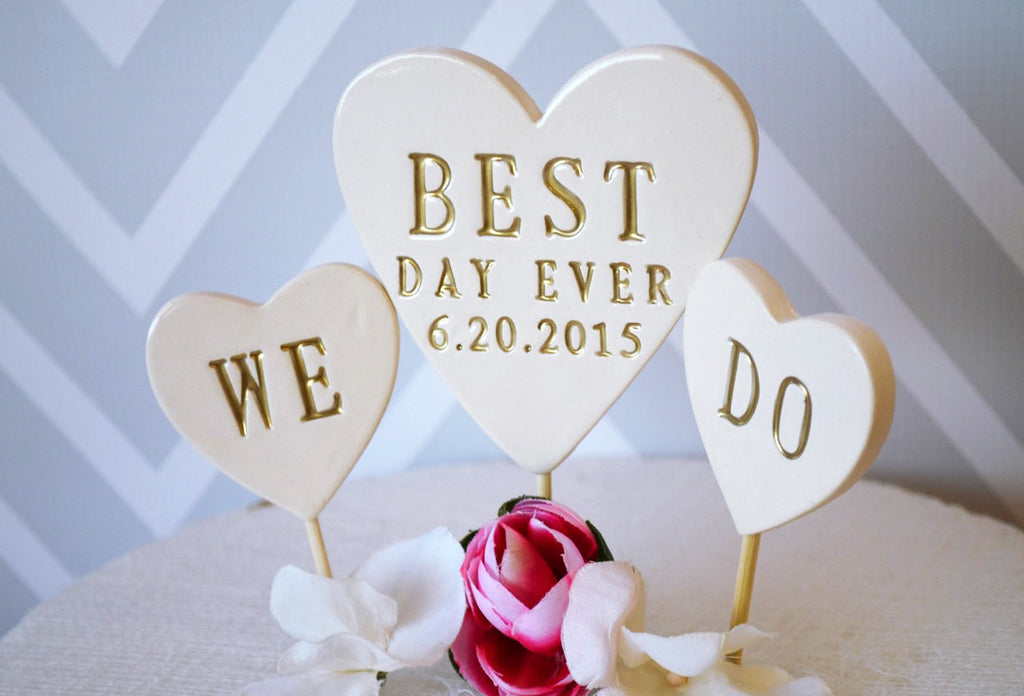 PERSONALIZED Best Day Ever Heart Wedding Cake Topper