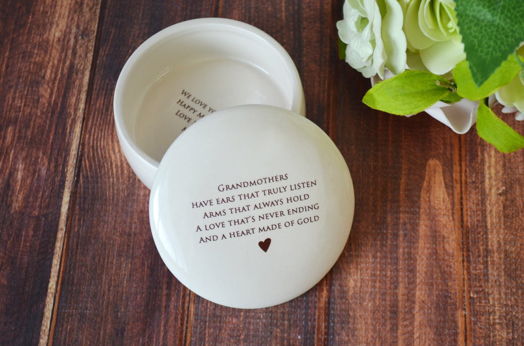 Unique Grandmother Gift - Round Keepsake Box  - Add Custom Text - With Gift Box