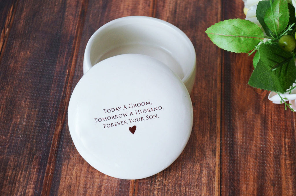Unique Father of the Groom Gift - Round Keepsake Box - Today a Groom, Tomorrow a Husband, Forever Your Son - With Gift Box