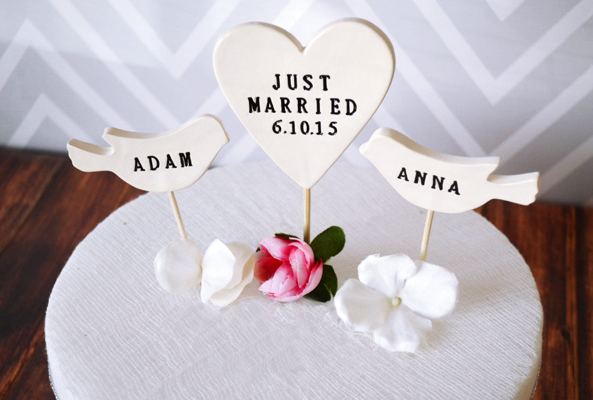 PERSONALIZED Just Married Heart Wedding Cake Topper with Date and Bird