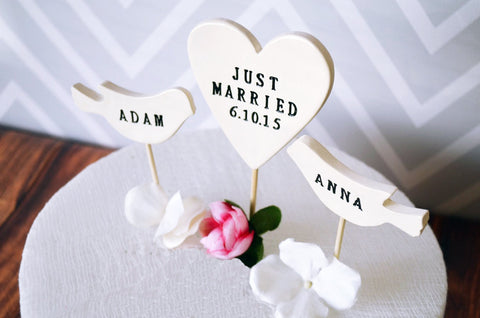 PERSONALIZED Just Married Heart Wedding Cake Topper with Date and Birds with Names