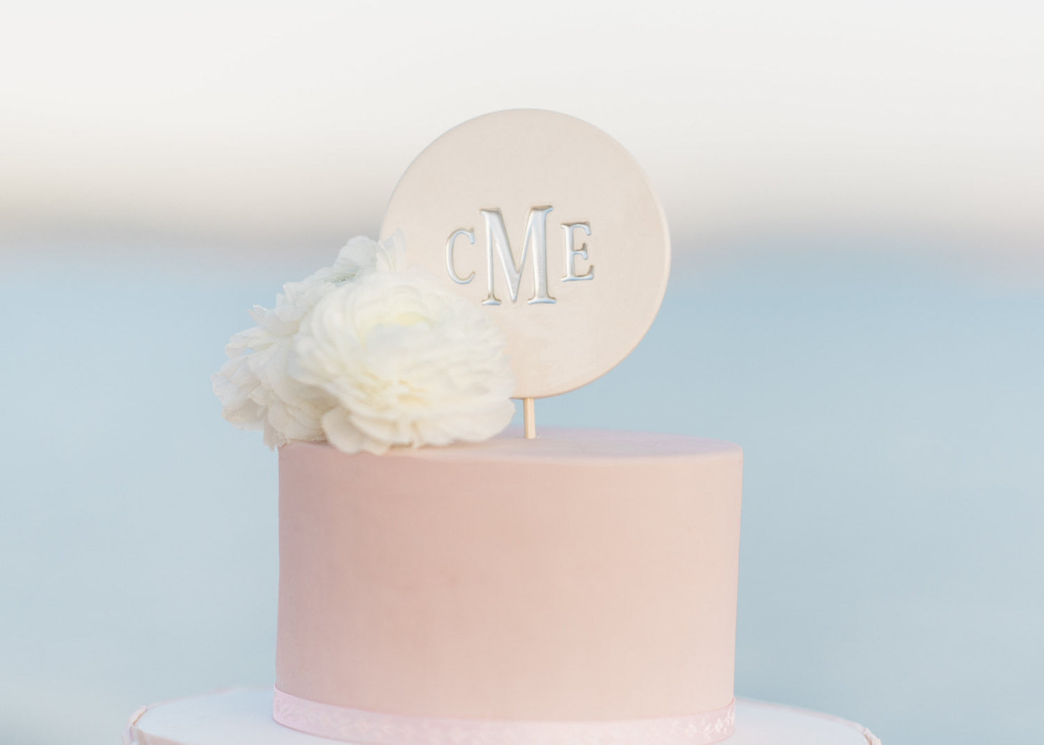 Modern Wedding Cake Topper - PERSONALIZED - in Silver