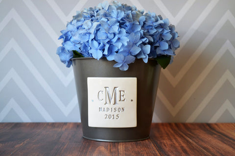 Wedding Gift - Monogrammed Shiny Grey Zinc Planter - PERSONALIZED with Monogram, Name and Date