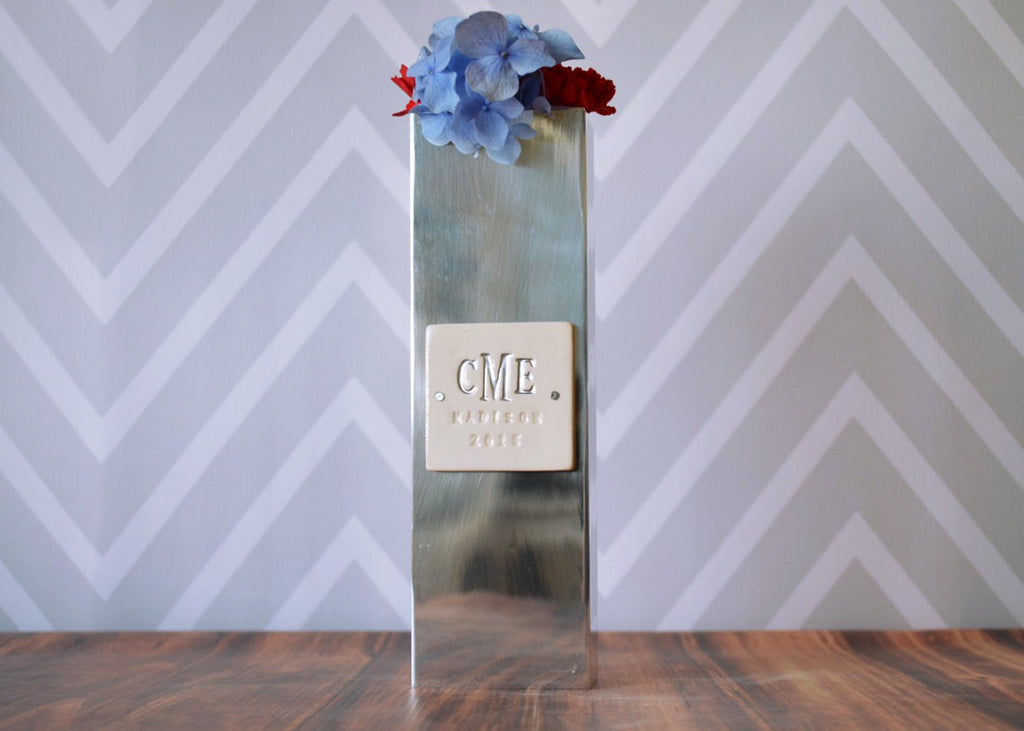 PERSONALIZED Wedding Gift - Polished Aluminum Rectangle Vase