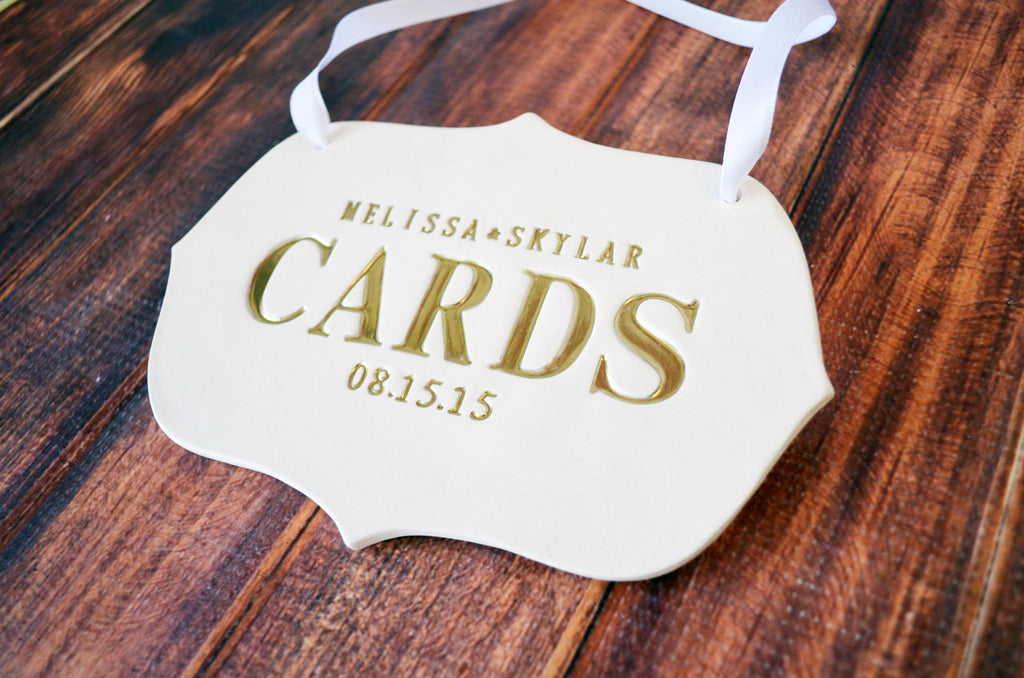 Gold Personalized Cards Sign for Wedding Card Box - Deco Shape