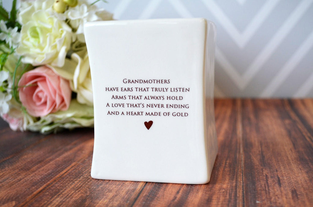 SHIPS FAST - Unique Grandmother Gift - Square Vase - Gift Boxed and Ready to Give