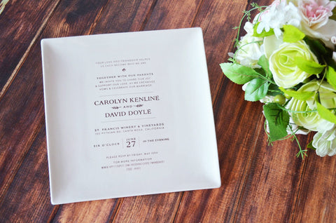Personalized Plate with Wedding Invitation - Wedding Gift - Gift Boxed