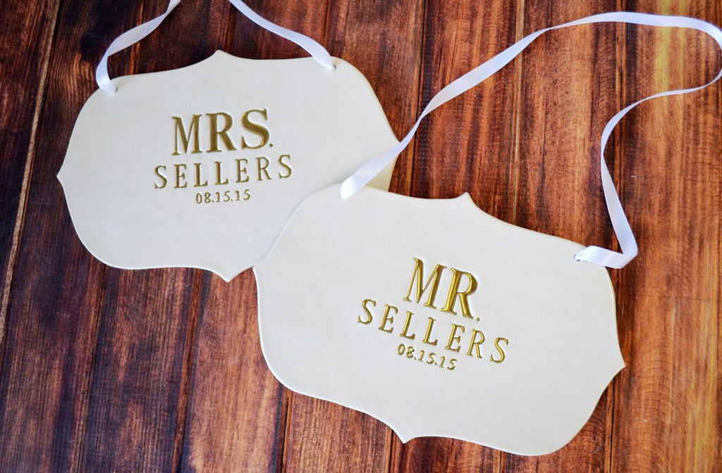 Custom Large Mr. & Mrs. Wedding Sign Sets - Name & Date - Photo Prop or Sign to Carry Down the Aisle