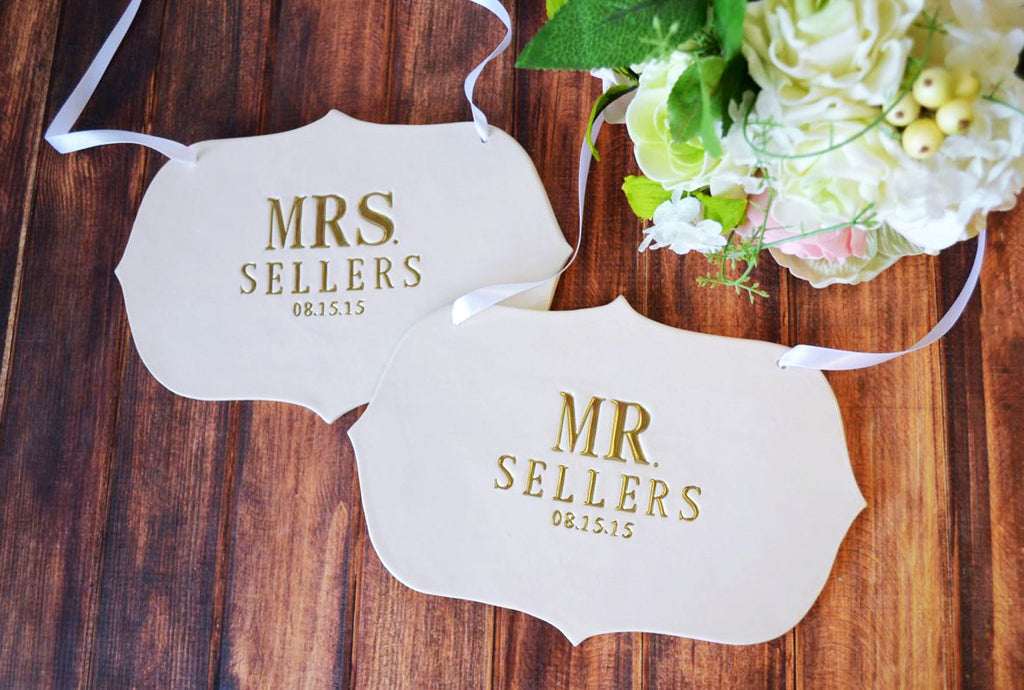 Personalized Large Mr. and Mrs. Wedding Sign Sets with Last Name and Wedding Date - to Hang on Chair and Use as Photo Prop