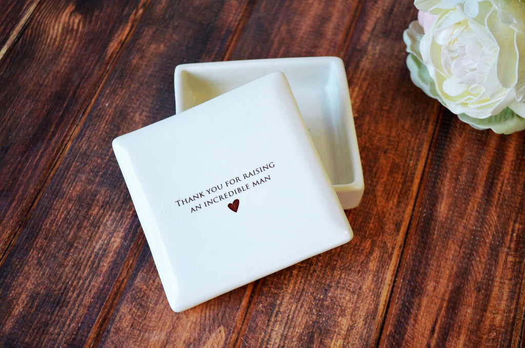 Unique Mother of the Groom Gift - Square Keepsake Box - Thank You for Raising an Incredible Man - Comes with a Gift Box