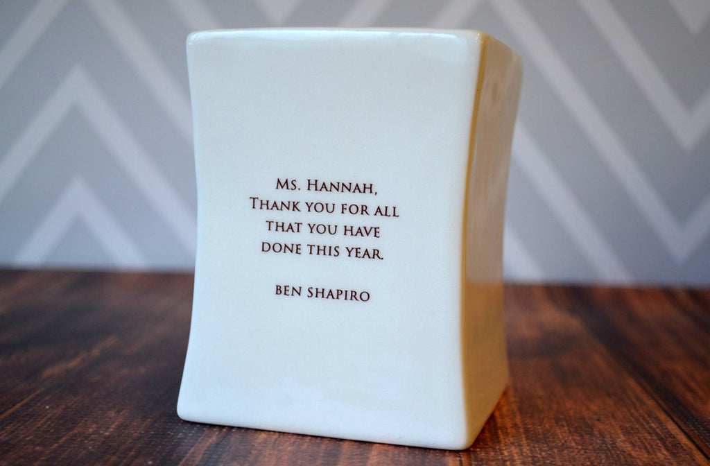 Unique Teacher Gift - Add Custom Text -Teachers plant the seeds of knowledge that will grow forever.- Square Vase - With gift box