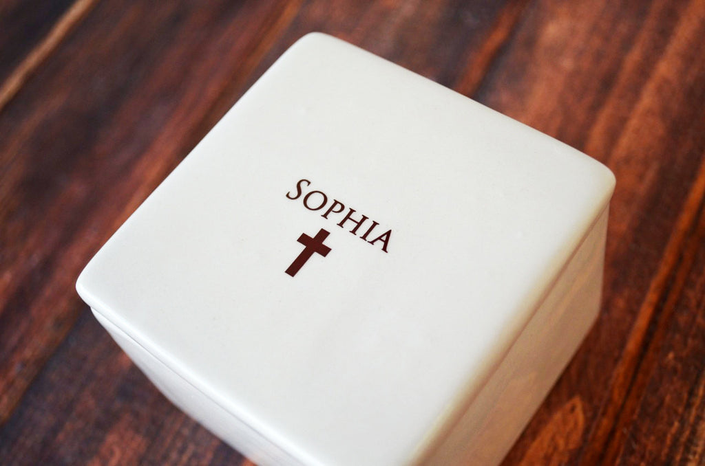 Personalized Baptism Gift or First Communion Gift - Square Keepsake Box - With Gift Box