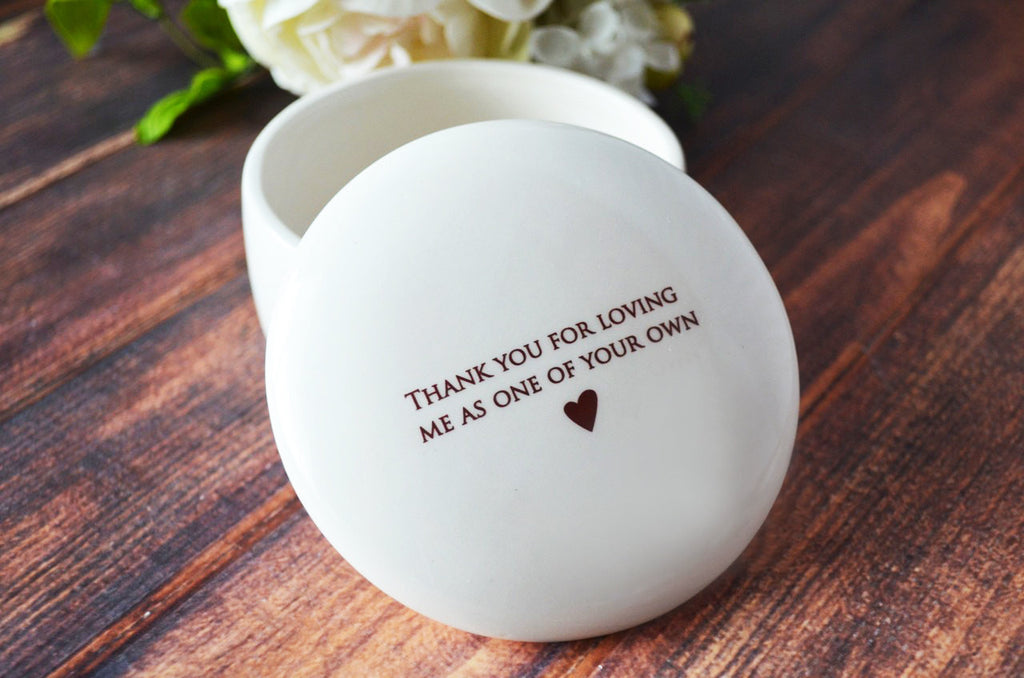 Unique StepMother of the Bride or Groom Gift - Keepsake Box - Thank you for loving me as one of your own - Add Custom Text - With Gift Box