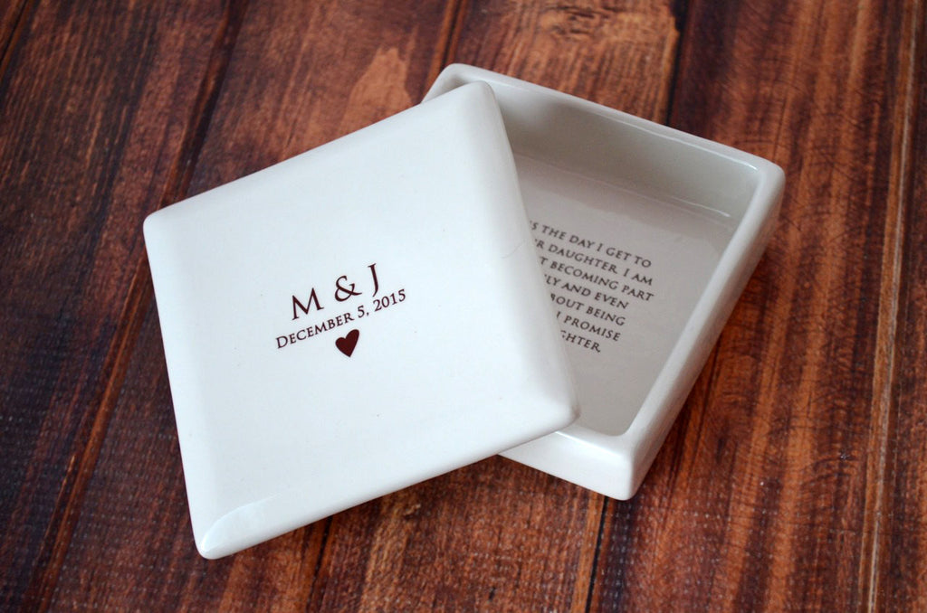 Unique Mother of the Bride Gift From the Groom - Square Keepsake Box - Comes with a Gift Box