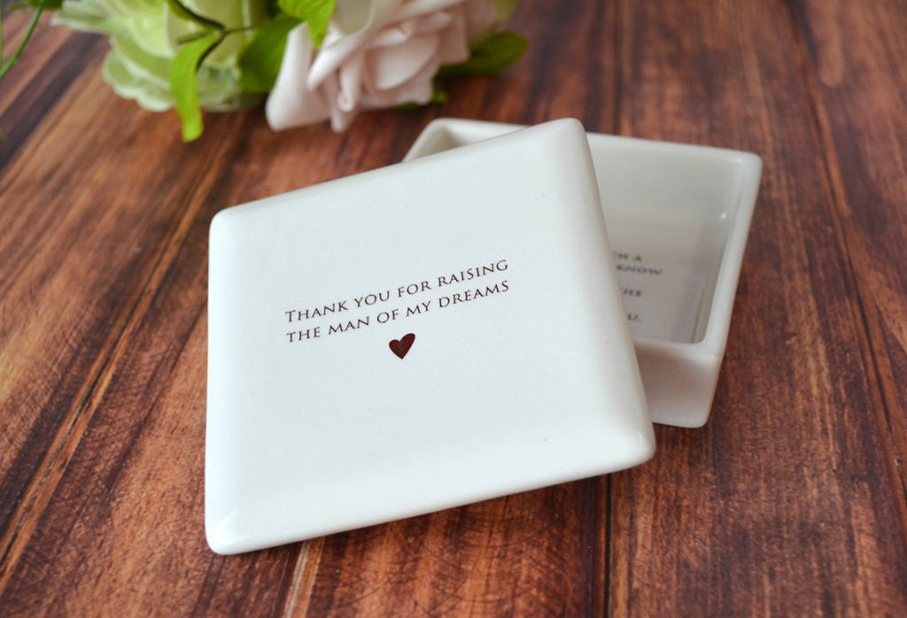 Unique Mother of the Groom Gift - Thank You For Raising the Man of My Dreams - Square Keepsake Box -  With Gift Box