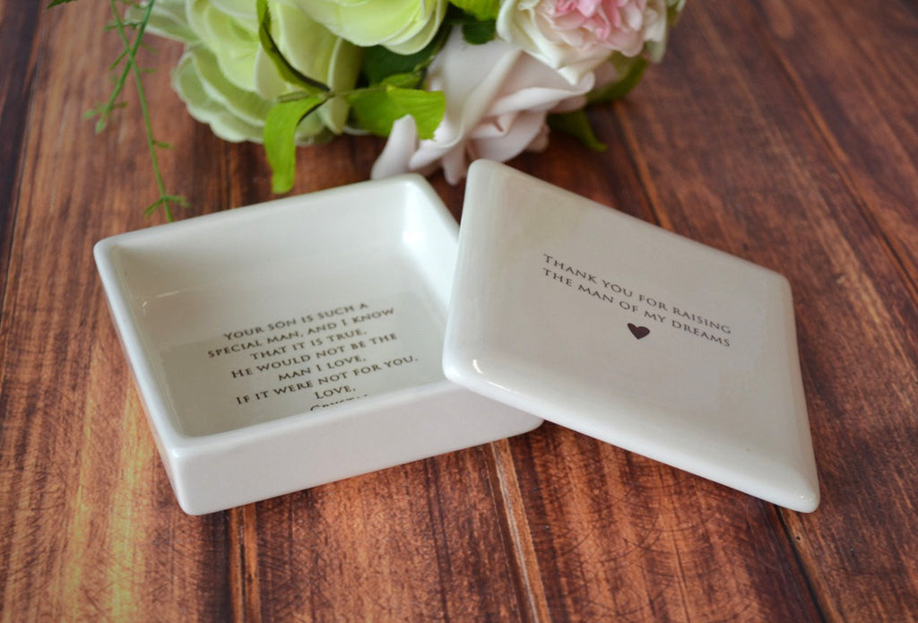 Unique Mother of the Groom Gift - Thank You For Raising the Man of My Dreams - Add Custom Text - Square Keepsake Box -  With Gift Box