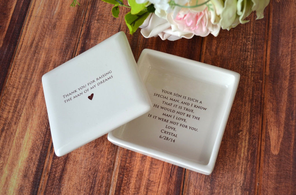 Mother of the Groom Gift - Square Keepsake Box with Personalized Silver Charm Bracelet - Add Custom Text -- Thank You For Raising the Man of My Dreams