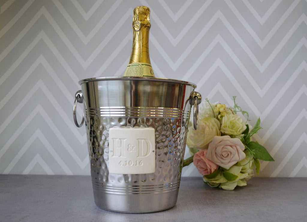Personalized Wedding Gift - Hammered Stainless Steel Wine Bucket wtih Initials