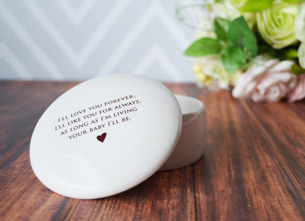 Mother of the Bride Gift. Mom Gifts - SHIPS FAST - Round Keepsake Box - As Long as I'm Living Your Baby I'll Be - With Gift Box