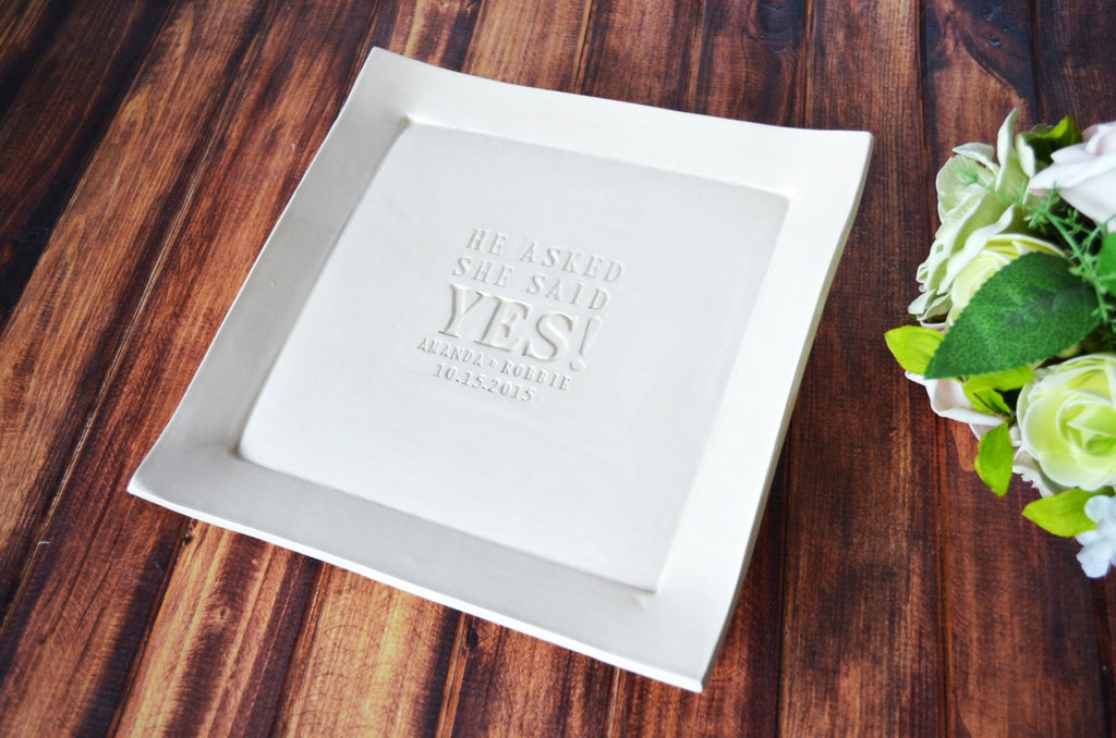Custom Bridal Shower Guestbook Platter or Engagement Gift - Gift boxed