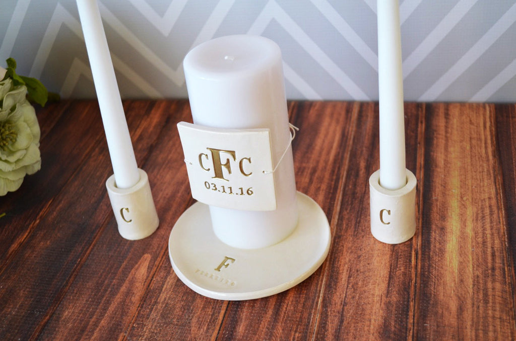PERSONALIZED Unity Candle Ceremony Set with Ceramic Candle Holders and Plate - in Gold - Gift Boxed