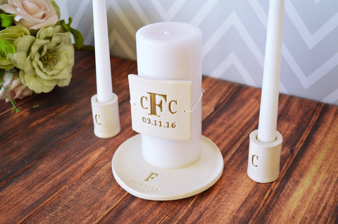 Round PERSONALIZED Unity Candle Ceremony Set Monogrammed - with candle holders - Gift Boxed