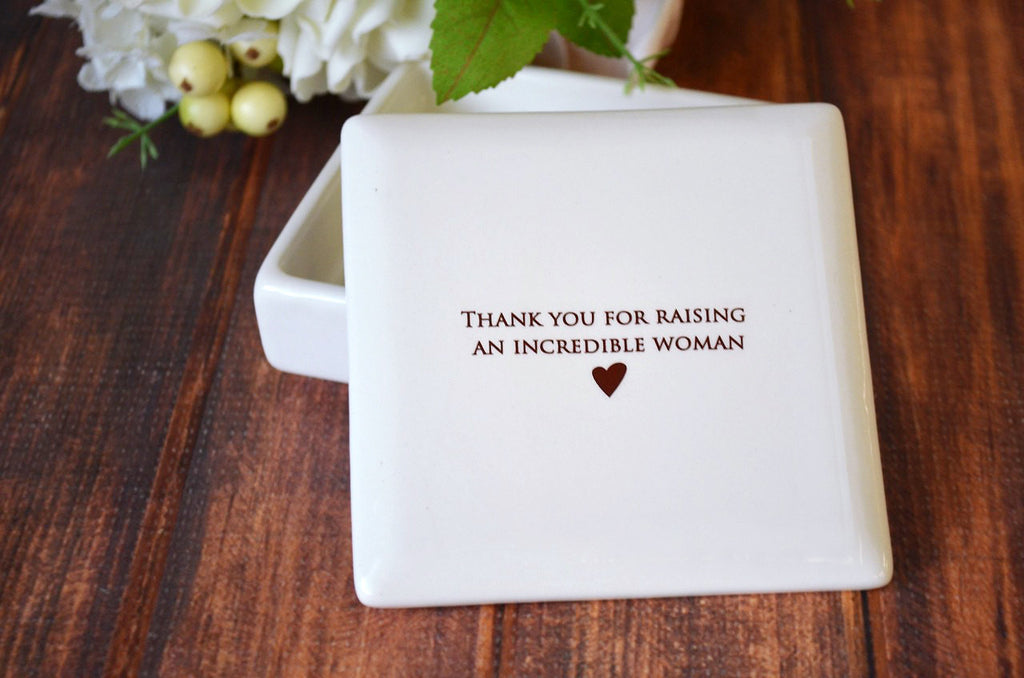 Unique Mother of the Bride Gift From Groom - Square Keepsake Box - Thank You for Raising an Incredible Woman - Comes with a Gift Box