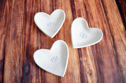 Bridesmaids Gift - Set of 3 Monogrammed Heart Bowls - With Gift Boxes