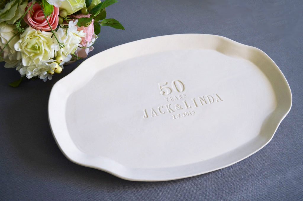 50th Anniversary Gift or Signature Guestbook Platter - Personalized with Names and Date - Gift boxed