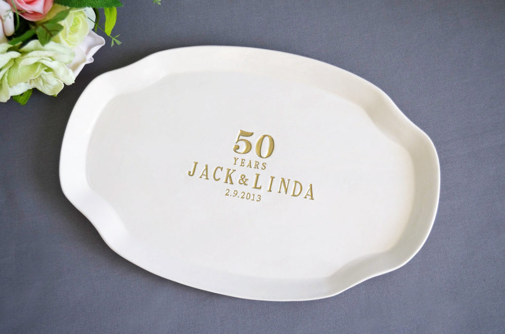 Anniversary Gift or Signature Guestbook Platter - Personalized with Names and Date - Gift boxed