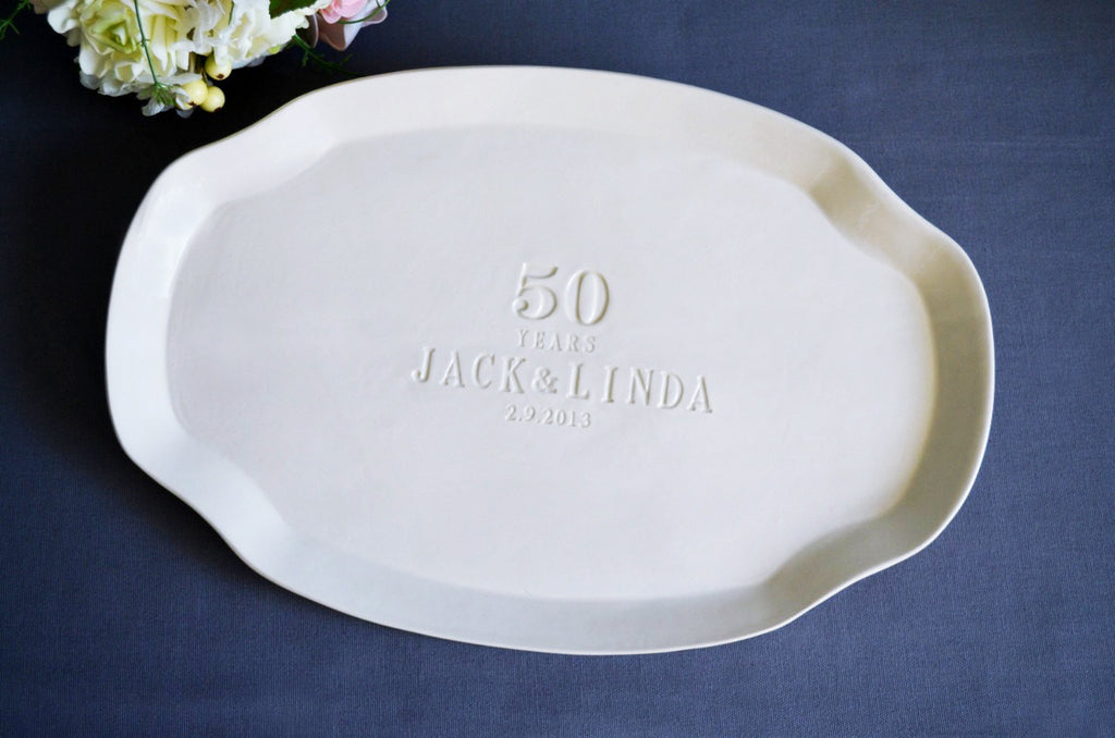 50th Anniversary Gift or Signature Guestbook Platter - Personalized with Names and Date