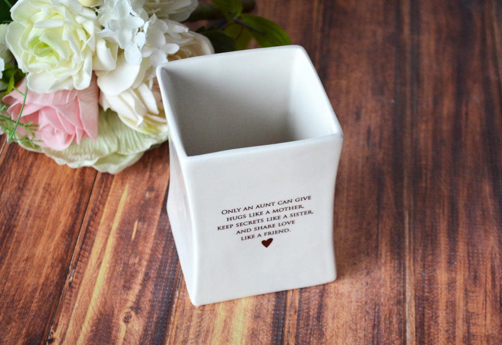 Unique Aunt Gift - SHIPS FAST - Square Vase - Gift Boxed and Ready to Give