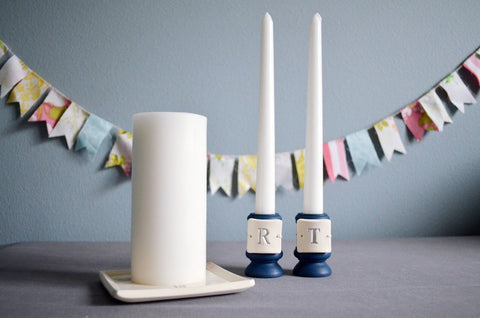 PERSONALIZED Unity Candle Ceremony Set with Ceramic Candle Holders and Square Plate - Gift Boxed