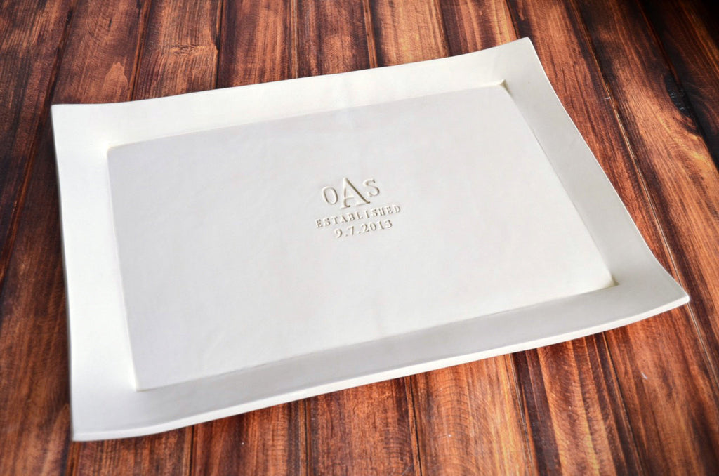 Personalized Wedding Gift  - Large Rectangular Wedding Platter with Set of 4 Appetizer Plates - Gift Boxed