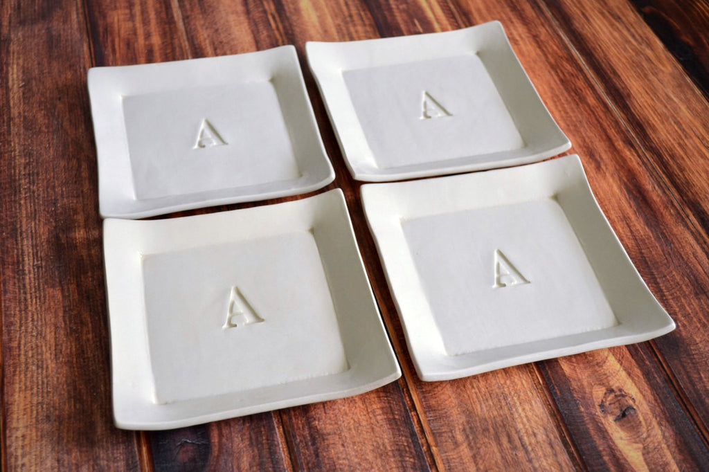 Personalized Wedding Gift  - Large Rectangular Wedding Platter with Set of 4 Appetizer Plates