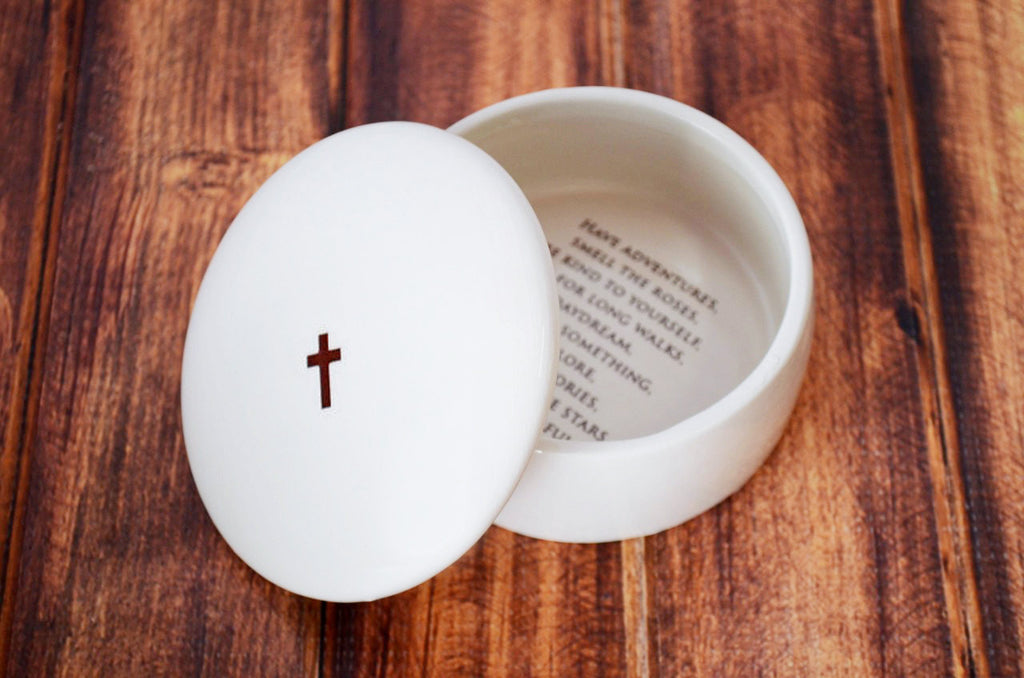 SHIPS FAST - Baptism Gift or First Communion Gift - Round Keepsake Box