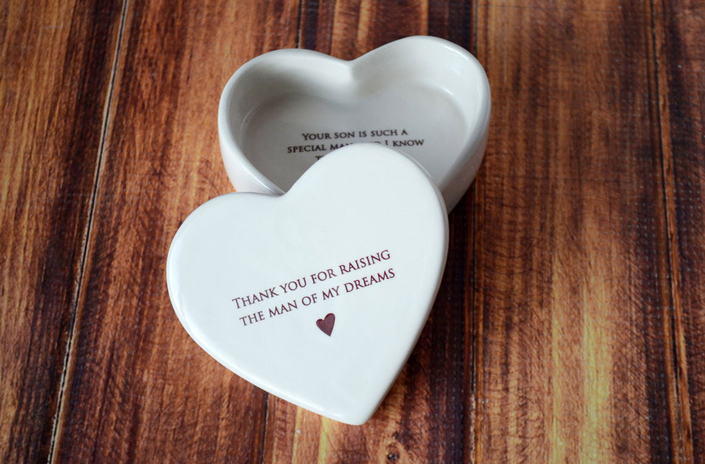 Mother-in-law Mother's Day Gift - Add custom text - Heart Box - Thank You for Raising the Man of My Dreams - Keepsake Box - Gift Boxed