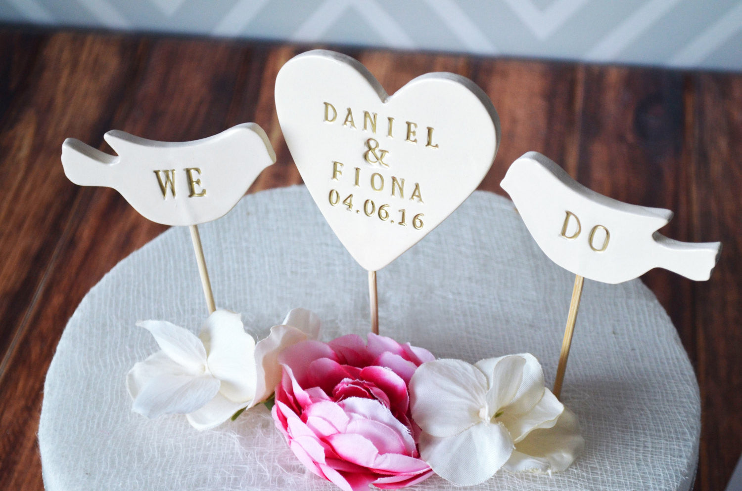 PERSONALIZED Heart Wedding Cake Topper With Names And Date And We Do Birds  ...