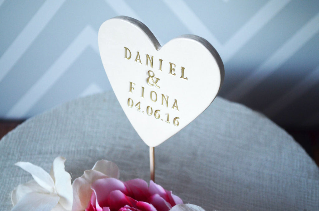 PERSONALIZED Heart Wedding Cake Topper with First Names and Wedding Date