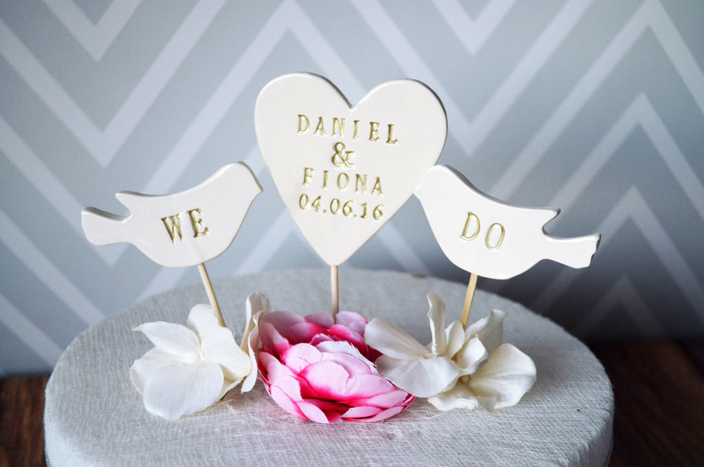PERSONALIZED Heart Wedding Cake Topper with Names and Date and We Do Birds