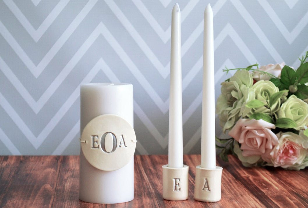 Personalized Unity Candle Ceremony Set With Ceramic Candle Holders Gift Boxed