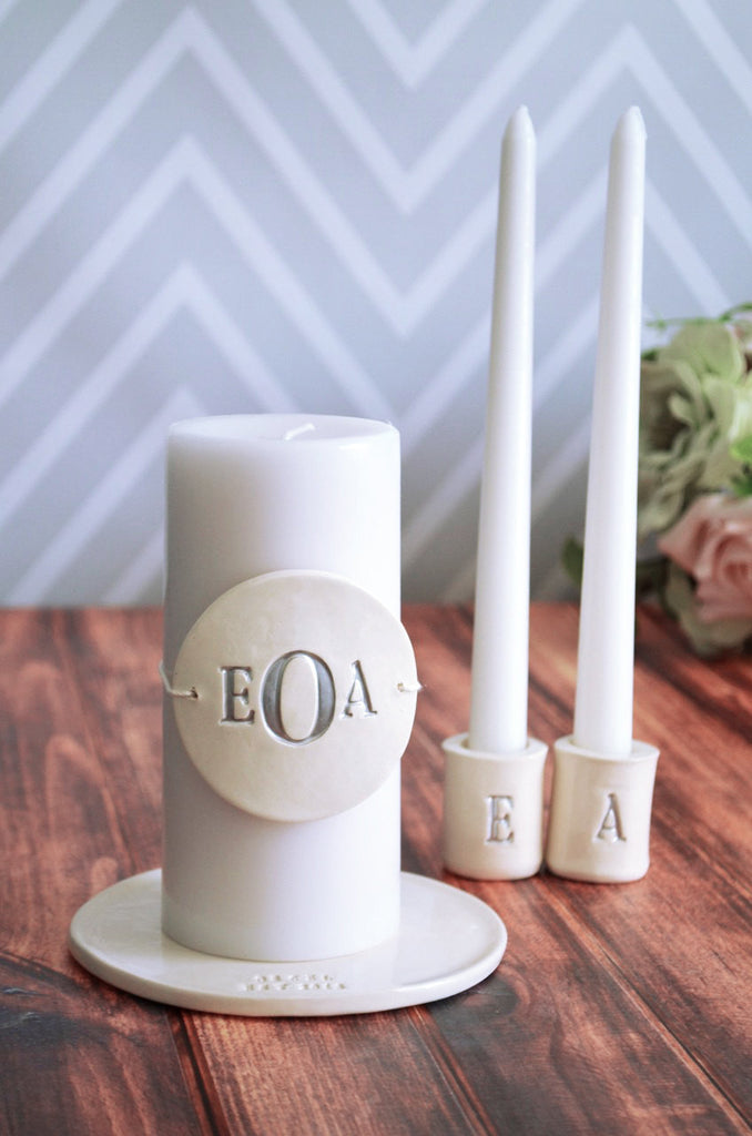 PERSONALIZED Unity Candle Ceremony Set with Ceramic Candle Holders and Plate - Gift Boxed