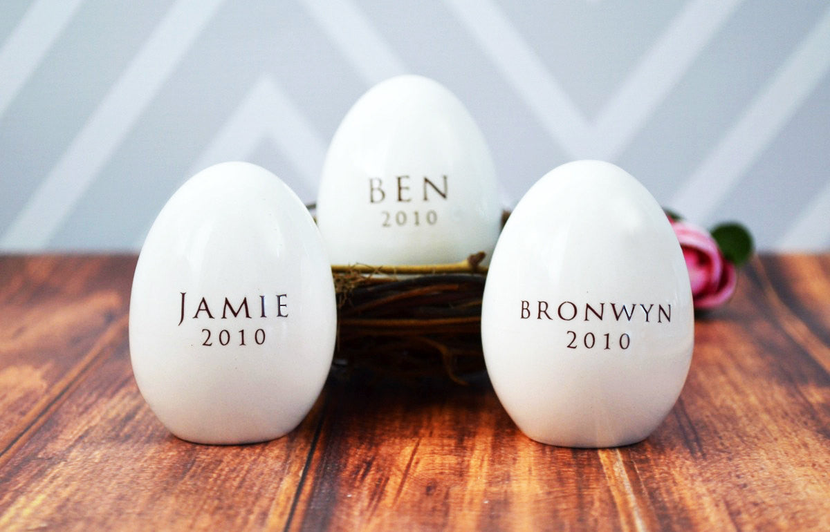 Set Of 3 Personalized Ceramic Easter Eggs Unique