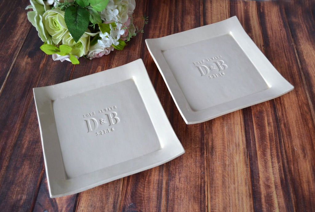 Set of Personalized Platters - Love Always with Initials and Date - Mother of the Bride Gift and Mother of the Groom Wedding Gift